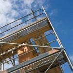 Baugerüst auf einer Baustelle Scaffolding on a construction site